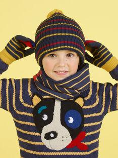 Gorro de color azul noche y rojo de rayas con borla para niño MYOGROBON2 / 21WI0254BON705