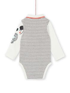 Body de rayas de algodón, de color crudo y azul, para bebé niño. LUPOEBOD / 21SG10Y1BOD001