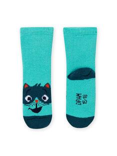 Calcetines de color azul turquesa con estampado de mapache para bebé niño MYUJOCHOB4 / 21WI1013SOQ209