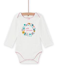 Body blanco con estampado de corona de flores para bebé niña MEFIBODPRI / 21WH13C4BDL001
