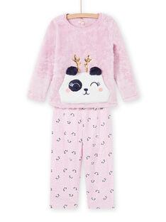 Pijama de color rosa con estampado de panda de soft boa para niña MEFAPYJKAN / 21WH1191PYJ326