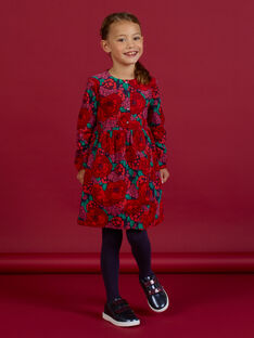 Vestido de manga larga de pana con estampado floral para niña MAFUNROB1 / 21W901M3ROBH703