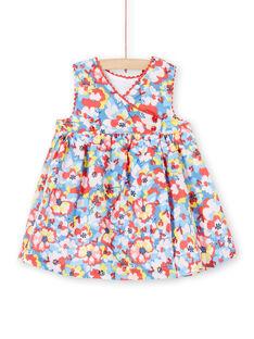 Vestido de color azul y rojo, con estampado floral, para bebé niña LICANROB2 / 21SG09M4ROB706