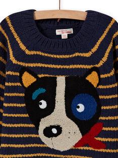 Jersey de manga larga de rayas y estampado de cara de perro para niño MOMIXPUL / 21W902J1PUL717