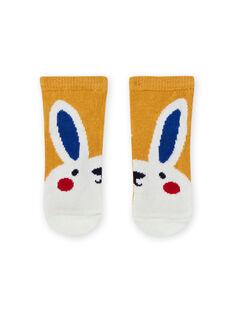 Calcetines amarillos con estampado de conejo para bebé niño MYUMIXCHO1 / 21WI10J2SOQ117