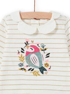 Camiseta de rayas con estampado de pájaro y flores para bebé niña MIKABRA / 21WG09I1BRA001