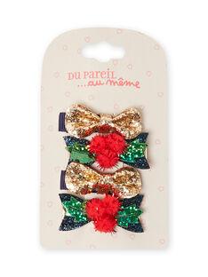 Pack de 4 horquillas de Navidad para niña MYANOCLIC1 / 21WI01T8BRT955