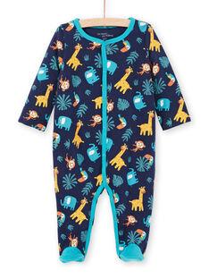 Pelele reversible de color azul noche con estampado animal para bebé niño MEGAGREANI / 21WH1486GREC205