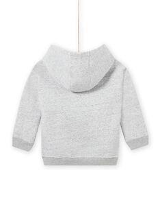 Sudadera con capucha de color gris jaspeado con estampado animal para niño MOSAUSWE / 21W902P1SWEJ922