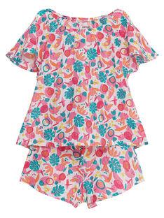 Pijama corto con estampado tropical para niña JEFAPYJ7 / 20SH11U6PYJ000