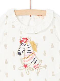 Camiseta de color crudo con estampado de piñas para bebé niña LITERBRA / 21SG09V1BRA001