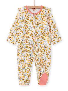 Pelele de color crudo con estampado floral para bebé niña MEFIGREAOP / 21WH1384GRE001