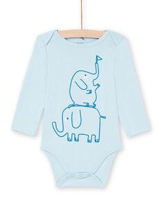 Body de manga larga azul con estampado de elefantes para bebé niño MEGABODELE / 21WH14B2BDL222