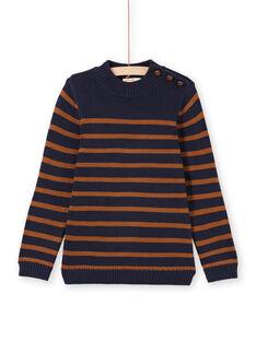 Jersey de color azul marino y marrón de rayas para niño MOJOPUL2 / 21W90211PUL812