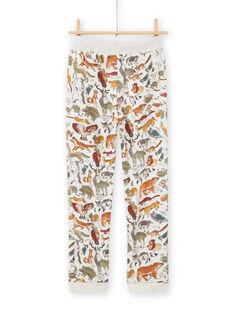 Pantalón de chándal de color beige jaspeado con estampado animal para niño MOSAUJOG / 21W902P1JGBA013