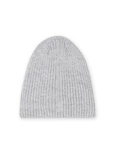 Gorro de canalé de color gris jaspeado bordado para niño MYOGROBON4 / 21WI0251BONJ922