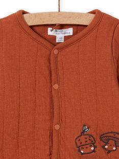 Cárdigan marrón de manga larga para recién nacido unisex MOU1GIL1 / 21WF0542GILI810
