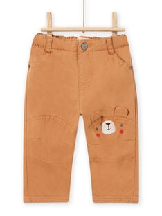 Pantalón marrón con detalles con estampado de osito para bebé niño MUFUNPAN2 / 21WG10M2PANI820
