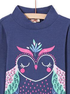 Jersey fino de color azul marino con estampado de búho con brillo para niña MAPLASOUP / 21W901O1SPLC202