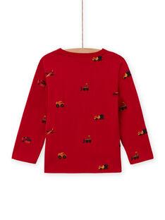 Camiseta roja de manga larga con estampado coche, tractores y helicópteros para niño MOCOTEE2 / 21W902L4TMLF521