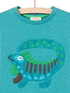 Camiseta azul turquesa con dibujo de fantasía para niño MOTUTEE5 / 21W902K2TMLC239