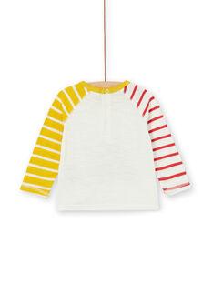 Camiseta de color crudo y amarillo de algodón para bebé niño LUNOTEE3 / 21SG10L1TML001