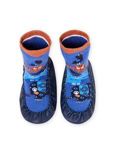 Patucos altos azules con estampado animal para bebé niño MUCHO7ANIM / 21XK3821D08C201