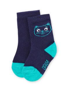 Calcetines azules con estampado de cara de gato para bebé niño MYUJOCHOU4 / 21WI1011SOQ713
