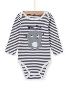 Body de manga larga de rayas con estampado de yeti para bebé niño MEGABODYET / 21WH14C4BDLJ918