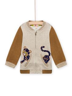 Cárdigan beige jaspeado y marrón con estampado de tigre para bebé niño MUKAGIL / 21WG10I1GIL604