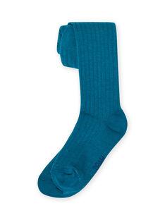 Leotardos lisos de color azul pato de canalé para niña MYAJOCOL4 / 21WI0118COL714
