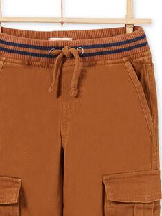 Pantalón cargo de sarga de color marrón para niño MOJOPAMAT4 / 21W90227PAN812