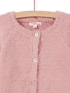 Cárdigan de punto chenilla de color rosa viejo para niña MAYJOCAR2 / 21W9011ACAR303