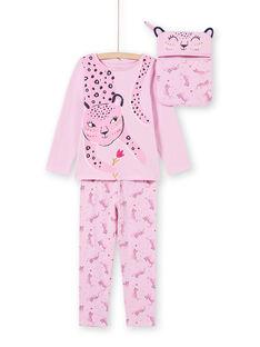Pijama de camiseta y pantalón rosa para niña MEFAPYJAGU / 21WH1171PYGH700