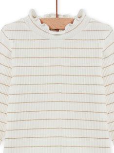 Jersey fino de color crudo de canalé de rayas doradas para bebé niña MIJOSOUPRIB1 / 21WG09N1SPL001