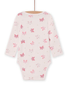 Body de manga larga rosa con estampado de zorro para bebé niña MEFIBODTET / 21WH13C1BDL632