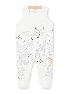 Chaqueta y pelele de color crudo y gris con estampado de fantasía para recién nacido unisex MOU1ENS1 / 21WF0542ENS001