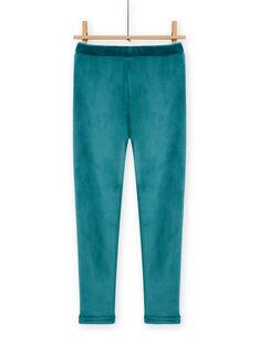 Leggings de color azul pato de terciopelo forrados para niña MAJOLEG4 / 21W901N8PAN714