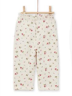 Pantalón de chándal beige con estampado floral para bebé niña MIKABAJOG / 21WG09I1JGBA011