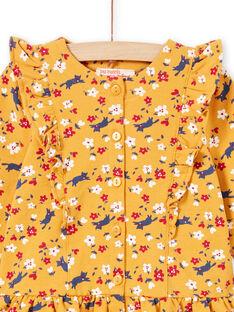 Vestido amarillo mostaza con estampado floral y leggings de color azul marino para bebé niña MIMIXENS / 21WG09J1ENSB106
