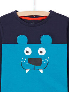 Pijama de camiseta y pantalón azul y azul marino para niño MEGOPYJMAN2 / 21WH1271PYG705