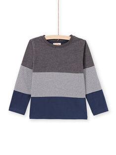 Camiseta gris jaspeado y azul marino para niño MOJOTIDEC3 / 21W90222TML944