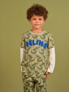 Camiseta caqui y azul con estampado de leopardo para niño MOKATEE3 / 21W902I2TML612