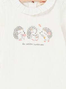 Body de color blanco con cuello avolantado para bebé niña LIPOEBOD / 21SG09Y1BOD001