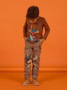 Pantalón multibolsillos con estampado militar para niño MOSAUPAN / 21W902P1PANI807
