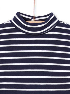 Jersey fino de manga larga azul marino de rayas para bebé niño MUJOSOUP2 / 21WG10N1SPL070