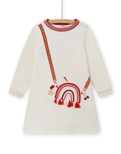 Vestido forrado crudo jaspeado con estampado de bolso para niña MACOMROB4 / 21W901L4ROB006