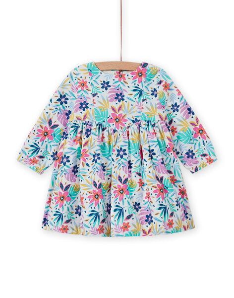 Vestido de pana multicolor con estampado floral para bebé niña MIPLAROB4 / 21WG09O4ROB001