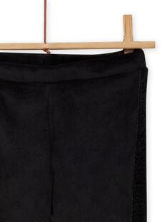 Leggings de color negro liso de terciopelo para niña MAJOLEG6 / 21W901N9PAN090