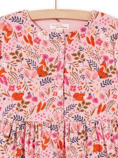 Vestido de color rosa viejo con estampado floral de fantasía de terciopelo para niña MASAUROB1 / 21W901P2ROB303